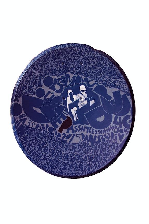 «Jeudi03mars2016» peinture acrylique sur parabole. Christian Marcelet Gratia Cmg1959