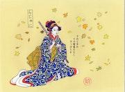 Geisha au catana inspiré d'estampe japonaise. Dominique Lajeunie
