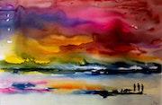 Aquarelle avec comme titre contemplation.. Bernard Courtalon