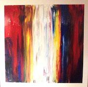 Technique mixte sur toile avec comme titre abstraction et éclat de couleurs..