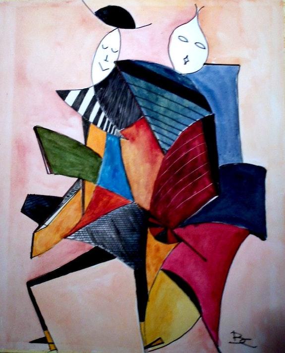 Aquarelle sur papier avec comme titre caricature 3. Bernard Courtalon Bernard Courtalon