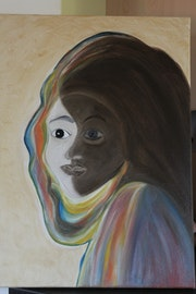 Tableau Huile Abstrait Homme/Femme/Masque/Visage/Face. Mimi Peint
