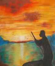 Boatman at sunset. George Hutton Hunter