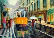Scène de rue sous la pluie à Lisbonne.