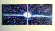 Tableau diptyque moderne, «Galaxie», acrylique sur toile.. Laurent Gorget