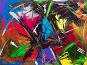 «Vertige étoilé » toile art abstrait moderne contemporain 60 X 80 cm.