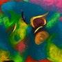 Le monde d artemis peinture acrylique sur toile art abstrait contemporain, 90x60. Xenart