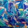 «Blue spider» tableau art moderne abstrait cntemporain 60x80 cm.