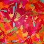«Shooting stars», «étoiles filantes», art contemporain abstrait sur toile 60x80cm,.