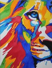 Le lion polychrome. L'aquarelle Autrement