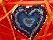 «Ocean heart», «le coeur de l'océan», street art contemporain sur toile 60x80 cm.