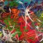 «Controversy», «controverse», tableau art moderne abstrait contemporain 60x80 cm. Xenart