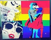 Tableau » Superman & Batman Gay » Acrylique » pièce unique ».