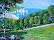 Les falaises d'Etretat vues des hauteurs.