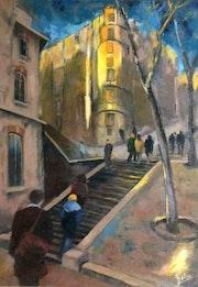 Les marches à Montmartre.