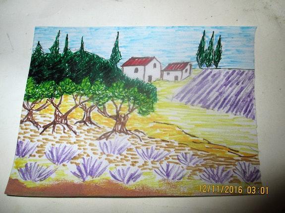 Petit paysage mediterraneen champ de lavandes. Moi-Même Scorpion66