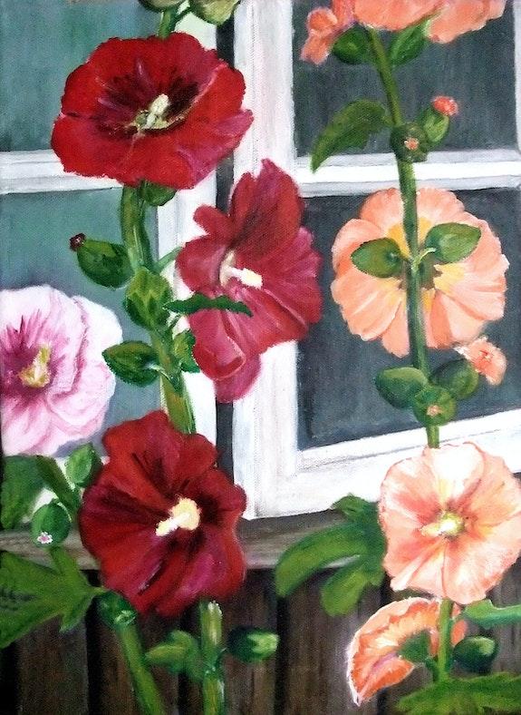 Stockrosen outside the window. Bärbel Saldeitis Bärbel Saldeitis