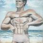 Steve reeves posant sur une plage. Pierre Adolle