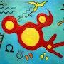 Ocell vermell dins d'un espai pantològic blau o Escala de la vida III. Yustebcn