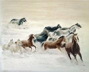 Les chevaux dans la neige. M-j m