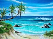 White Beach crystal clear blue sea and waves »-Ocean Art - 1». Naushadarts