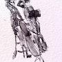 Contrabass at Palau de la Musica pen and ink (prints). Gary J. Kirkpatrick