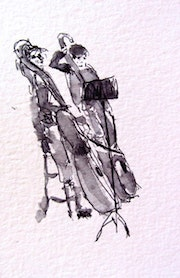 Contrabass at Palau de la Musica pen and ink (prints). Gary J. Kirkpatrick