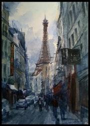 Rue parisienne avec vue sur la Tour Eiffel…. Aissam