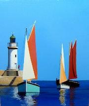 Port du palais à belle-ile-en-mer phare et vieux gréements.