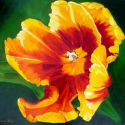 Sunny mood yellow and red tulip flower painting.