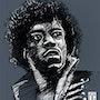 Hendrix - Portrait Noir et Blanc. Dixit Graphiste
