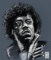 Hendrix - Portrait Noir et Blanc.