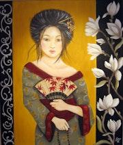 Geisha aux magnolias, portrait de femme du Japon. Sandrine. Cazuc