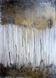 Abstrakt original gemälde bild leinwand kunst 70 X 100cm grau gold. Brigitte Knoop