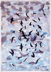 A limited edition print'Birds'. Sheila Riley