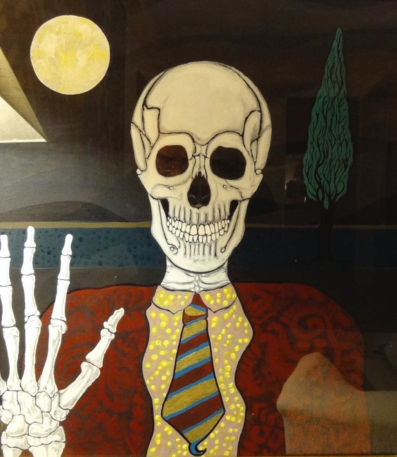 Death with suit and tie behind a glass. Ramon Pujol Ramon Pujol