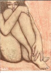 Mujer desnuda nos observa.