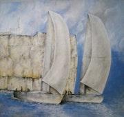Veleros navegando en añil. Rafael Robles