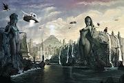 Paysage Fantastique Civilisation Extraterrestre.