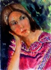 Une Kabyle en robe rose. Lyazid Chikdene