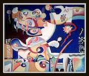 Compositions az; Huile sur toile 110 cm X 130 cm 2016..