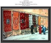 Rue aux tapis rouges tendus. Marrakech. Maroc. Philippus