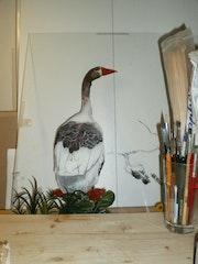 Peinture sous verre à ses débuts.