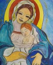 Tableau représentant marie et le christe petit.