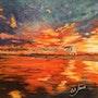 Coucher de soleil sur La plage de Gruissan. Catherine James