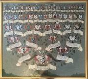 Seltene 32er Adelsprobe des Wilhelm Dietrich von Wakenitz, General, 18. Jhdt. !.