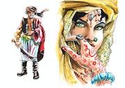 Femme arabe et sultan guerrier.