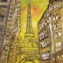 Coucher du soleil sur la tour Eiffel vue d'une rue. Gilles Duguet