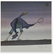 Lithographie, Le joueur de tennis.