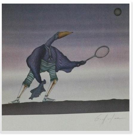 Lithographie, Le joueur de tennis.  Bea Bis